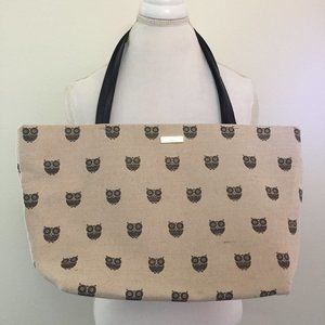 Kate Spade Wise Owl Tote  Open Top Natural Fabric